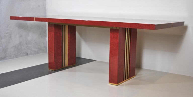 Midcentury Jean Claude Mahey Red Lacquered Wood and Brass French Table, 1980s For Sale 1