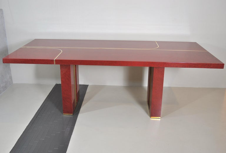 Midcentury Jean Claude Mahey Red Lacquered Wood and Brass French Table, 1980s For Sale 2