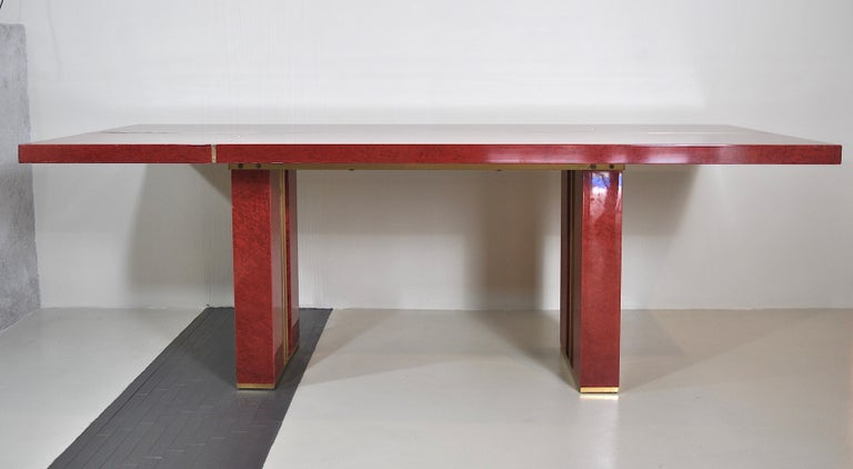 Midcentury Jean Claude Mahey Red Lacquered Wood and Brass French Table, 1980s For Sale 3