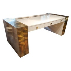 Jean Claude Mahey, White Lacquered and Brass Midcentury Signed Desk, France 1970