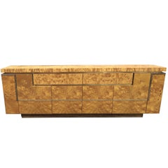 Jean-Claude Mahey, Sideboard in Walnut Burl Veneer and Gilt Brass