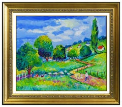 Jean Claude Picot Original Painting Oil On Canvas French Landscape Signed Framed