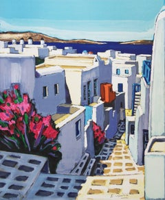 Greece : Small Street in Santorini - Handsigned lithograph