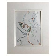Jean Cocteau, Femme et Prélat, Lithograph, 1957