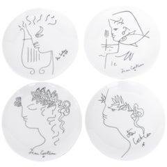 Jean Cocteau French Limoges Set of Four Ceramic Dessert Plates, circa 1958
