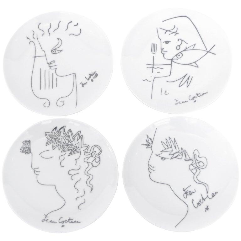 Jean Cocteau French Limoges Set of Four Ceramic Dessert Plates, circa 1958 For Sale