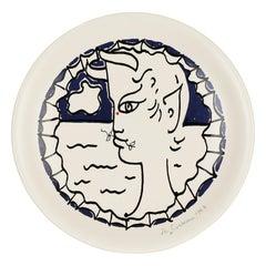 Jean Cocteau Japanese Seyei Porcelain Faun Decorated Plaque