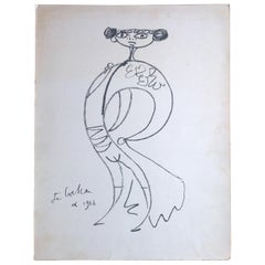 Jean Cocteau Midcentury Matador Figure Lithograph on Paper Signed & Dated 1956