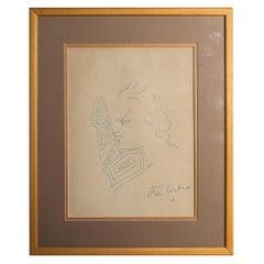 Jean Cocteau, Original Drawing, Signed, circa 1950, France