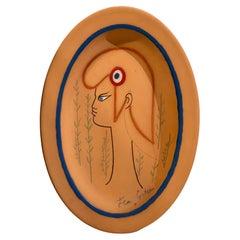 "Jean Cocteau Original Edition Ceramic Dish ""Marianne"", 1961"