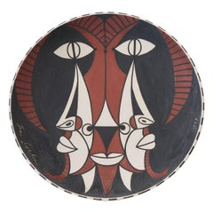 "Jean Cocteau Original Edition Large Ceramic Dish ""Bouc trois faces"", 1959"