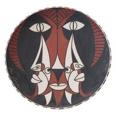 "Jean Cocteau Original Edition Large Ceramic Dish ""Bouc trois faces"", 1959"