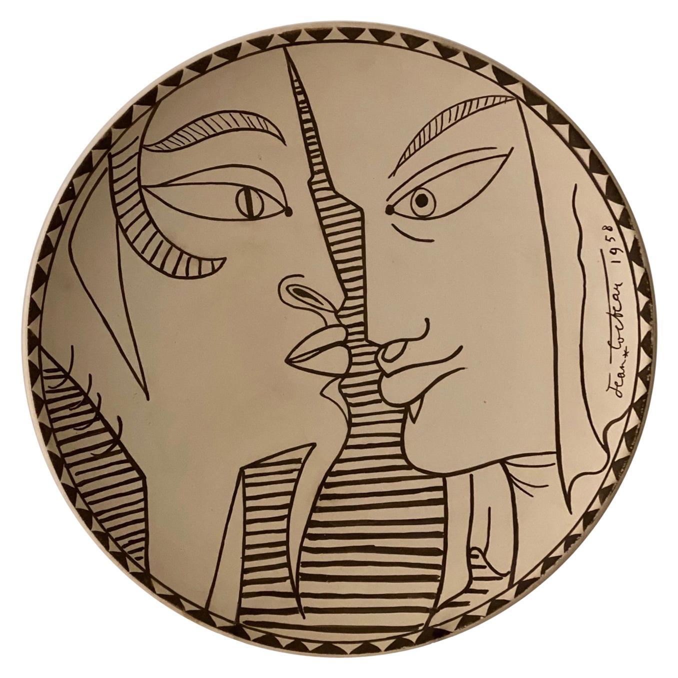 "Jean Cocteau Original Edition Large Ceramic Dish ""Indes"", 1958"