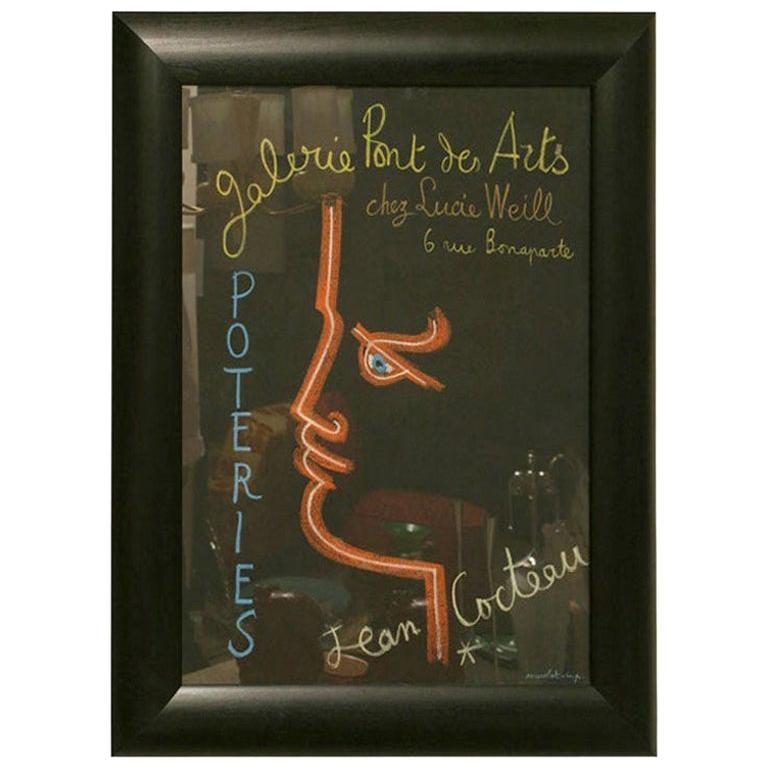 Jean Cocteau Original Stone Lithograph Custom Framed