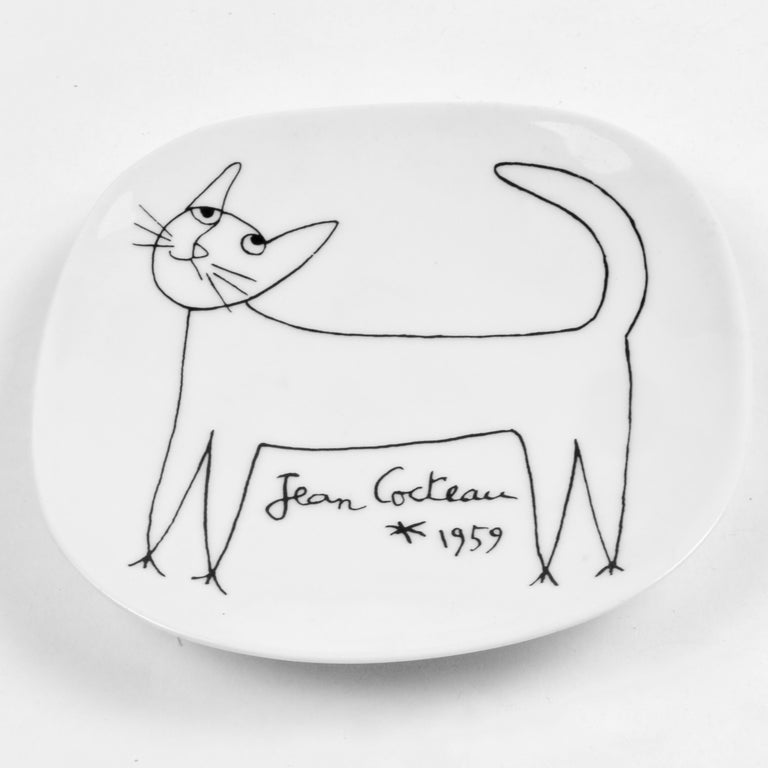Mid-Century Modern Jean Cocteau Porcelain Dish for Limoges, 1959 For Sale