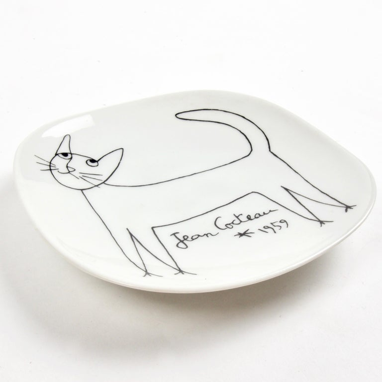 French Jean Cocteau Porcelain Dish for Limoges, 1959 For Sale