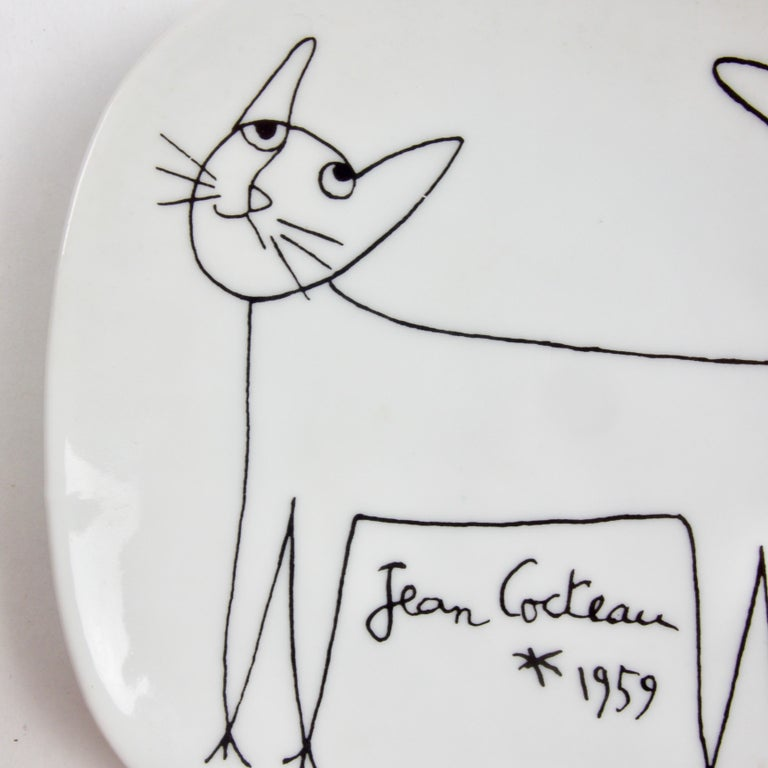 Ceramic Jean Cocteau Porcelain Dish for Limoges, 1959 For Sale