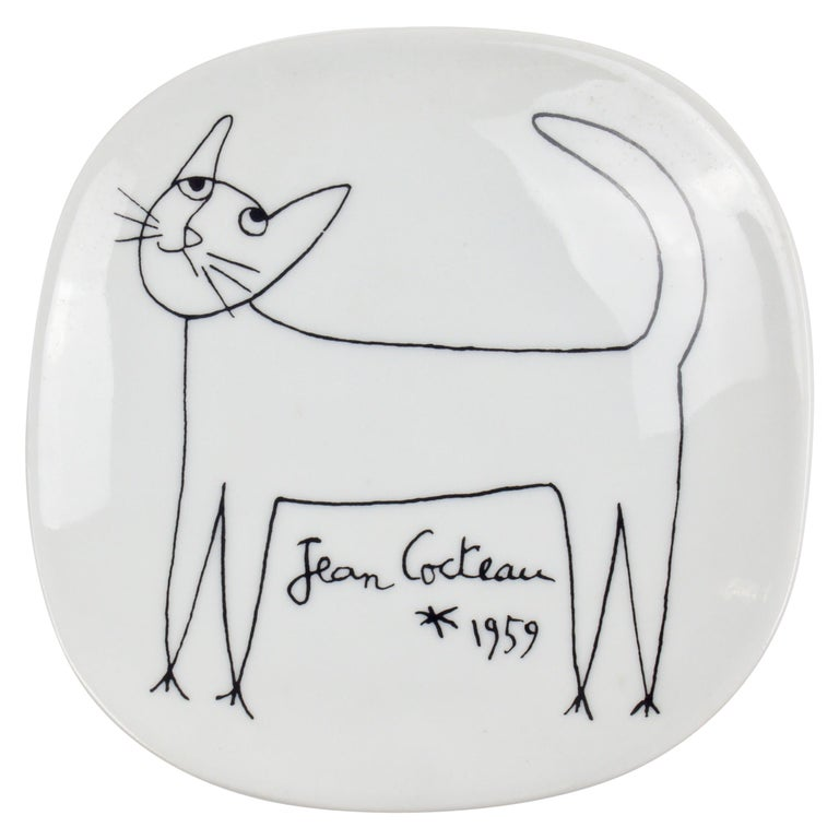 Jean Cocteau Porcelain Dish for Limoges, 1959 For Sale