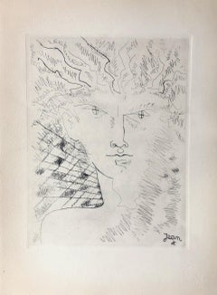 Head of Faun - Original Etching Signed in The Plate
