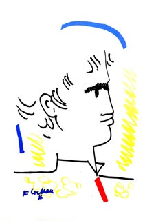 Jean Cocteau - Colorful Portrait - Original Lithograph