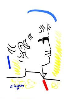 Jean Cocteau - Colorful Portrait - Original Lithograph