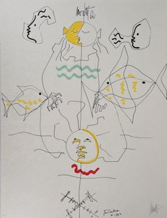 Jean COCTEAU and Raymond MORETTI : A Summer Day, Original Hansigned Lithograph