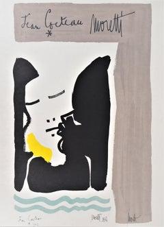 Jean COCTEAU and Raymond MORETTI : Portrait - Original Hansigned Lithograph