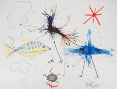 Jean COCTEAU and Raymond MORETTI:  The Fishes- Original Hansigned Lithograph