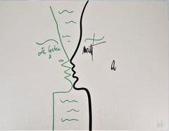 Jean COCTEAU and Raymond MORETTI : The Kiss - Original Hansigned Lithograph