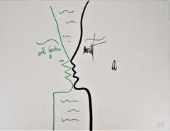 Jean COCTEAU and Raymond MORETTI : The Kiss - Original Hansigned Lithograph