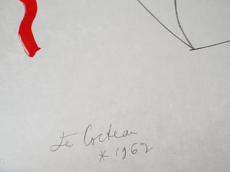 Jean COCTEAU and Raymond MORETTI : The Lovers - Original Hansigned Lithograph - Print by Jean Cocteau