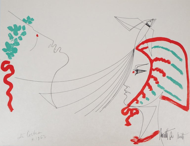 Jean Cocteau Figurative Print - Jean COCTEAU and Raymond MORETTI : The Lovers - Original Hansigned Lithograph