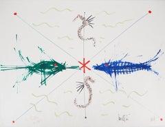 Jean COCTEAU and Raymond MORETTI : The Seahorses - Original Hansigned Lithograph