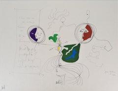 Jean COCTEAU and Raymond MORETTI : The Spirits - Original Hansigned Lithograph