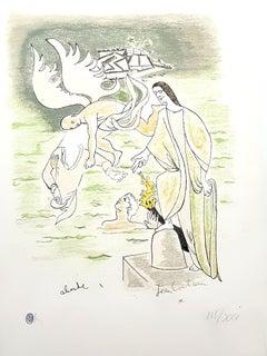 Jean Cocteau - Angel - Original Handcolored Lithograph