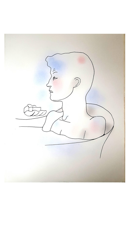 Jean Cocteau - Bath - Original Handcolored Lithograph For Sale 1