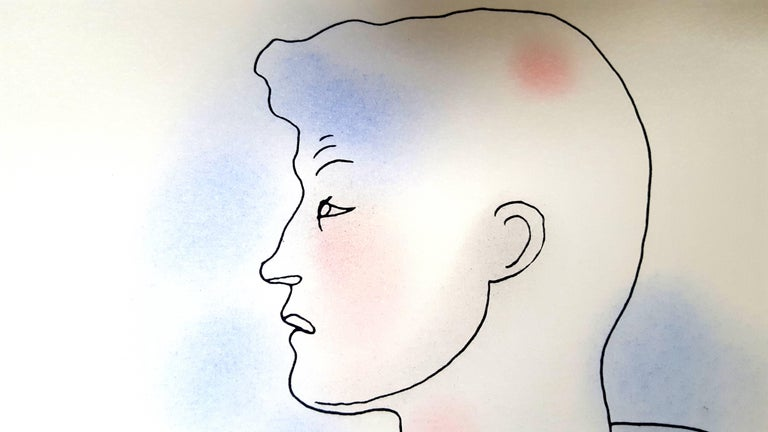 Jean Cocteau - Bath - Original Handcolored Lithograph For Sale 2