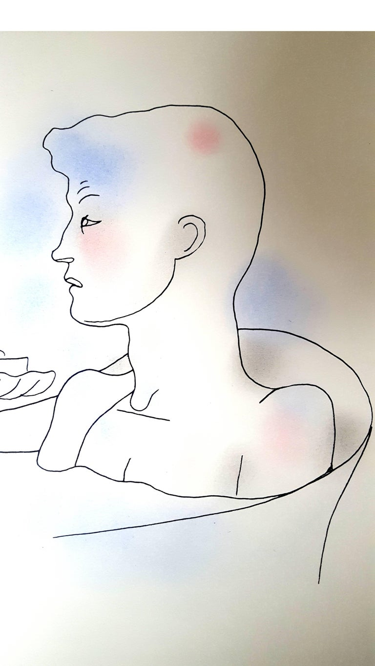 Jean Cocteau White Book - Autobiography about Cocteau's discovery of his homosexuality. The book was first published anonymously and created a scandal. Original Handcolored Lithograph Dimensions: 28.4 x 22.8 cm Edition of 380 on Vélin d'Arche Paris,