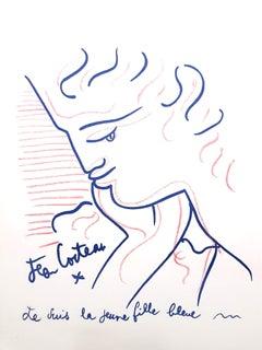 Jean Cocteau - Blue Lady - Original Lithograph