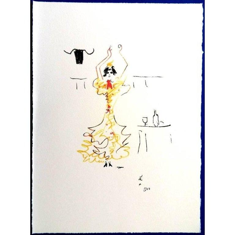 """Signed in the stone Original Lithograph by Jean Cocteau Title: Carmen 1961 Dimensions: 38 x 28 cm Lithograph made for the portfolio """"Gitans et Corridas"""" published by Société de Diffusion Artistique  Jean Cocteau  Writer, artist and film director"""