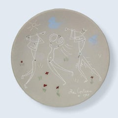 Jean Cocteau Ceramic Plate - Danseuse et Musiciens from Danses antiques, 1958