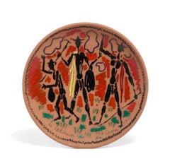 Jean Cocteau Ceramic Plate - 'Les Trois garçons à l'écharpe jaune'