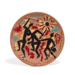 Jean Cocteau Ceramic Plate - 'Le Mêlée des trois garçons' from Le Satiricon