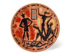 Jean Cocteau Ceramic Plate - Scène d'intérieur, from Le Satiricon