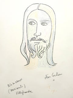 Jean Cocteau - Christ - Original Handsigned and Handcolored Lithograph