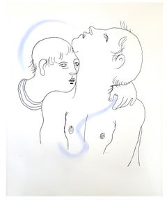 Jean Cocteau - Couple - Original Handcolored Lithograph