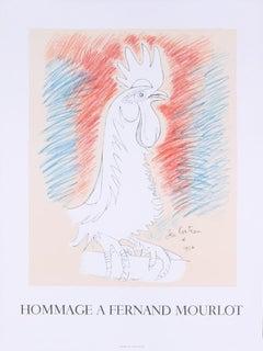 "Jean Cocteau-Homage a Fernand Mourlot-29"" x 22""-Lithograph-1993-Blue, Red"