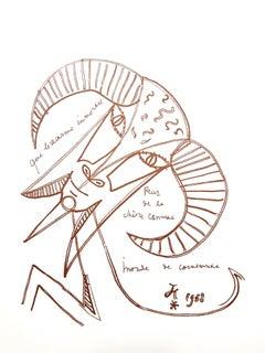 Jean Cocteau - Immortal Goat - Original Lithograph