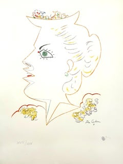 Jean Cocteau - Lady with Flowered Hat - Original Lithograph