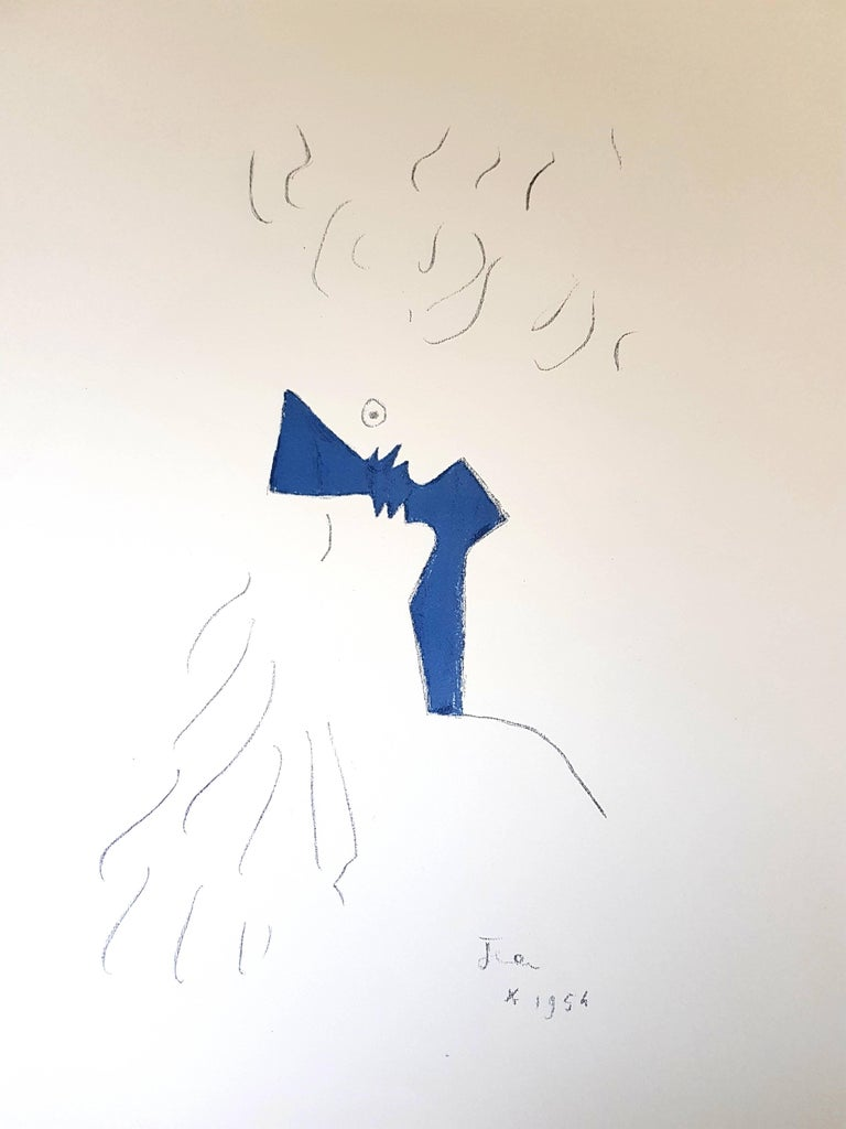 """Jean Cocteau - Under the Fire Coat - Lovers - Original Lithograph Signed """"Jean"""" in the plate and dated 1954 in the plate. Joseph Forêt Editions Dimensions: 41 x 33 cm Vellum paper.  Jean Cocteau  Writer, artist and film director Jean Cocteau was one"""